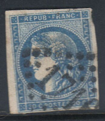 FRANCE 1849 20c IMPERF BLUE USED
