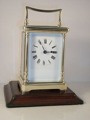 Antique French brass carriage clock. FITTED KEY. Clean/Serviced in April 2017.