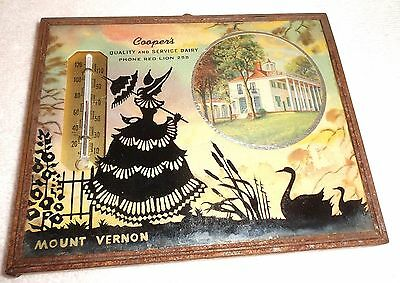 Vintage Cooper's Dairy Red Lion Pa Silhouette Picture/Thermometer