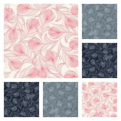SCATTER FEATHER 100% COTTON POPLIN FABRIC navy grey feathers dressmaking