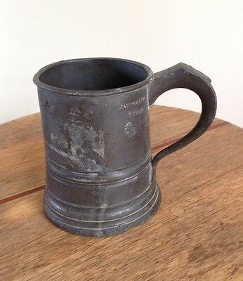 Antique Victorian James Yates Pewter Half Pint Tankard VR 576