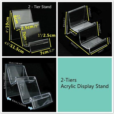 2 or 4 x 2-Tiers Clear Acrylic Retail Fashion Shop Display Stand Handbags Purse