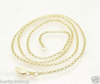 "Adjustable 2mm Rolo Cable Chain Necklace Real Solid 14K Yellow Gold 16"" 18"""