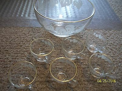 Vintage Clear GLASS Egg Nog BOWL w 6 Matching Cups WHITE Grape Leaves Design