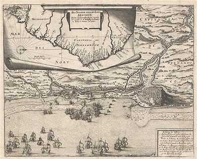 1655 Merian Map of Coast of Brazil and View of Olinda and Recife, Brazil