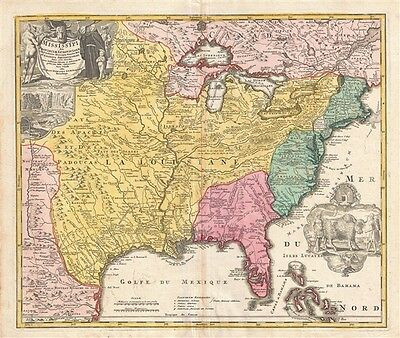 1720 Homann Map of the Mississippi Valley (United States, Louisiana, Texas, Brit