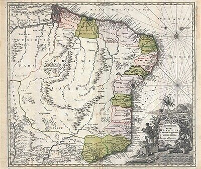1730 Seutter Map of Brazil