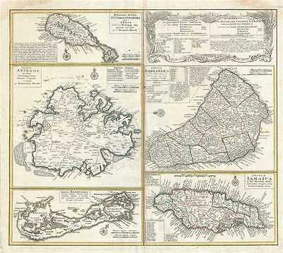 1740 Homann Heirs Map of Jamaica, Barbados, Bermuda, Antigua and Saint Kitts