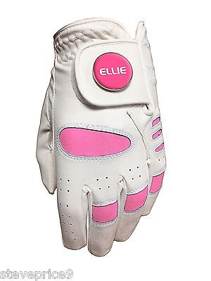 "New Girls Junior Golf Glove. White / Pink. Size Small. "" Ellie "" Ball Marker."