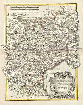 1771 Bonne Map of Languedoc and Roussillon, France