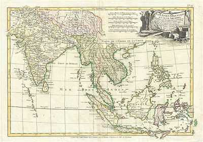 1783 Janvier Map of India, Southeast Asia and East Indies (Thailand, Borneo, Sin