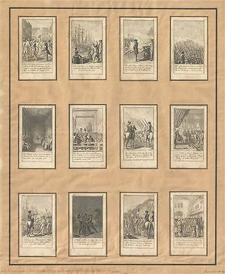 1784 Chodowiecki Cards Depicting the American Revolutionary War (12 Cards)