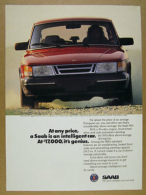 1988 Saab 900 red car color photo vintage print Ad