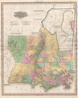1825 Tanner Map of Mississippi and Louisiana (Chickasaw, Chocktaw)