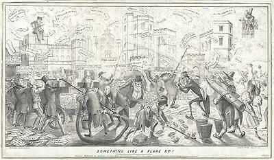 1834 Political Caricature of Men attempting to quell the flames of the House of