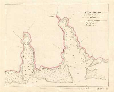 1835 Manuscript Map of Taloo Harbor on Mo'orea Island (part of Society Islands),