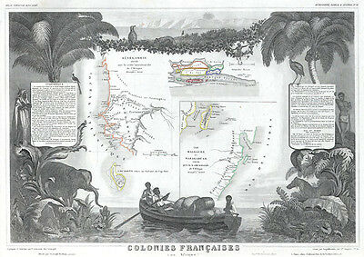 1848 Levasseur Map of Senegal, Gambia and Madagascar