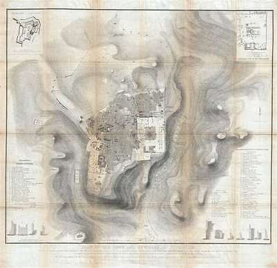 1849 Symonds Linen Map of Jerusalem (first scientific survey of Jerusalem)