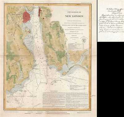 1851 U.S. Coast Survey Chart or Map of the Harbor of New London, Connecticut
