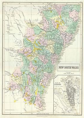 1854 Black Map of New South Wales, Australia
