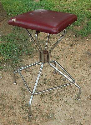 "Vtg Metal Industrial Swivel Stool Drafting Square Seat Chrome Legs 23.5"" Tal"