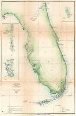 1861 U. S. Coast Survey Chart or Map of Florida