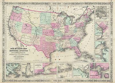 1863 Johnson Military Map of the United States