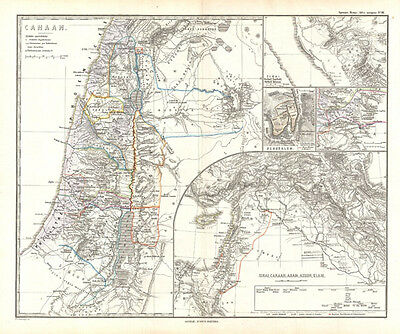 1865 Spruner Map of Israel, Canaan, or Palestine in Ancient Times