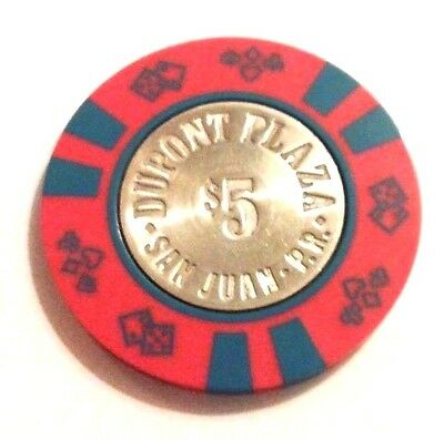 RARE $5 DUPONT PLAZA Casino RED & BLUE Poker Chip SAN JUAN Puerto Rico Bud Jones