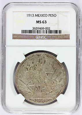 1913 Mexico 1 One Peso Silver Coin - NGC MS 63 Graded - KM# 453