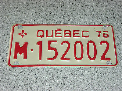 1976 Quebec Canada Motorcycle License Plate M - 152002 Moto Motocyclette Bike