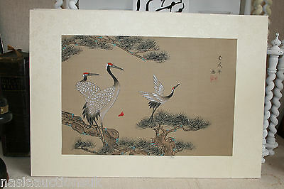 A Pair Of Vtg Chinese or Japanese Handcoloured Prints on Silk Cranes