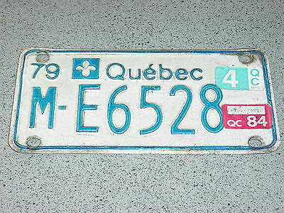 1979 1984 Quebec Canada Motorcycle License Plate M-E6528 Moto Motocyclette Bike