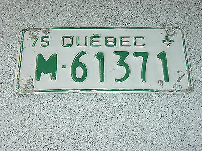 1975 Quebec Canada Motorcycle License Plate M-61371 Moto Motocyclette Bike