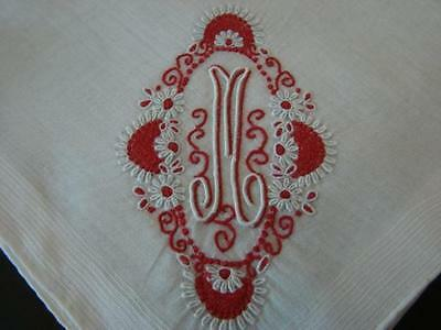 Vintage Wedding Bridal Handkerchief Madeira Exquisite Red Monogram M Unused