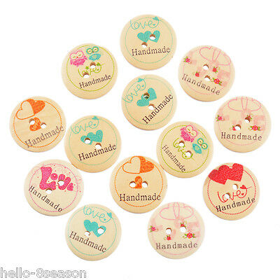 50PCs Mixed Pattern Natural Color 2-holes Wooden Button Charm Sewing Kits