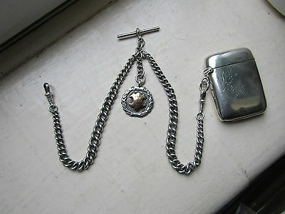 ANTIQUE 1917  Sterling SILVER  DOUBLE Albert Watch Chain & fob with Silver VESTA