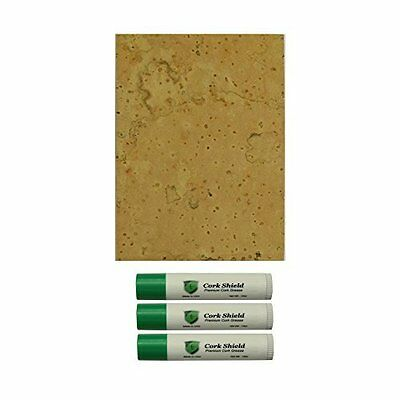 """Sheet Cork with Grease Tubes Premium All Natural 0.04"""" 4 x 6 Inches Pack of 3"""