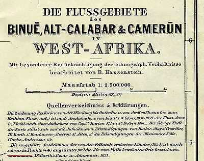 1863 West Africa Benoue Calabar River Nigeria Cameroon Discovery Exploration Map