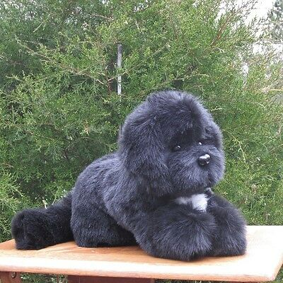 Black With White  Newfoundland Plush Puppy Replica/stuffed Animal