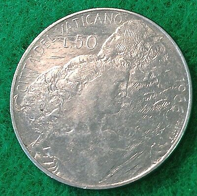 1966 Vatican City 50 LIRE, Paul VI coin