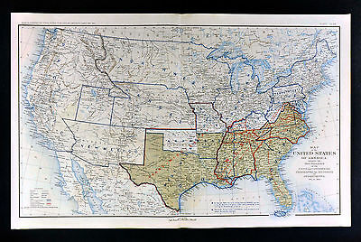 Civil War Map Dec. 1864 United States Confederate West Territories Pony Express