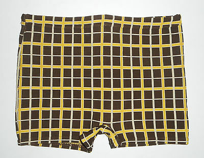 Vtg 50s 60s Swim Trunk BRIEFS * BROWN PLAID * Nylon Shorts Bathing Suit Mens SM
