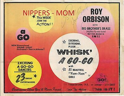Rare Roy Orbison Autograph on Advertisement for Roy at Atlanta's Whisk' A Go-Go