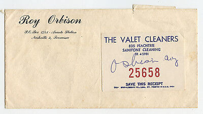 Rare Roy Orbison Envelope and Dry Cleaning Ticket - Vintage - Original