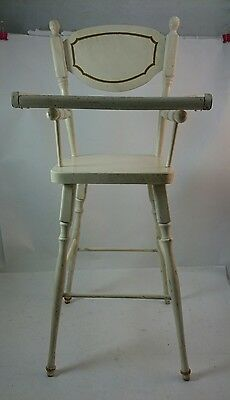 "Vintage DOLL WOOD HIGH CHAIR Fancy White Ornate Painted Accents 24"" Tall Girls'"
