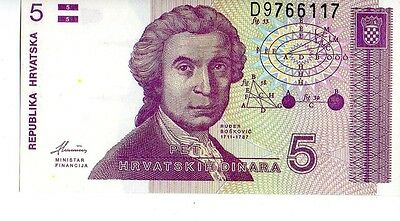 Croatia 1991 5  Dinara Currency Unc