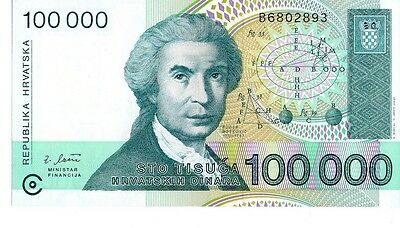 Croatia 1993 100,000 Dinara Currency Unc
