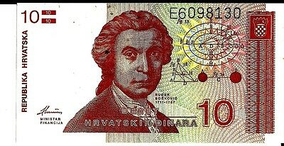 Croatia 1991 10 Dinara Currency Unc