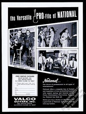1969 The Kim Sisters photo National Valco electric guitar vintage print ad